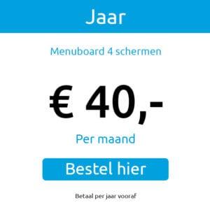 Menuboard-4 jaar abonnement €40,- p/m
